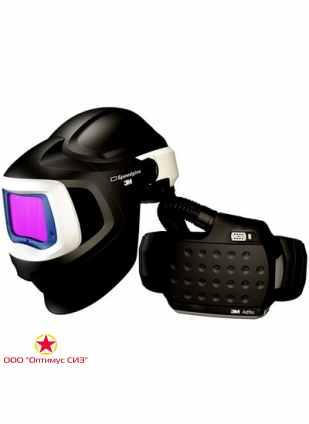 Лицевой щиток сварщика сварщика 3M™ Speedglas® SG 9100 MP со светофильтром SG 9100XХ с регулятором 5, 8, 9-13 Din и блоком ADFLO