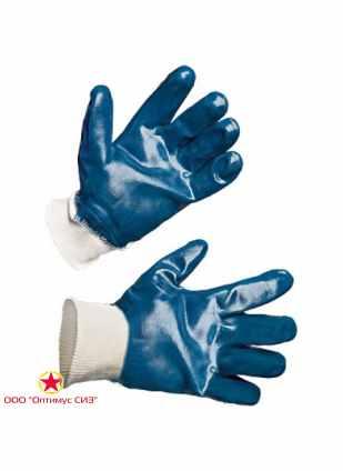 Перчатки хб с полным нитриловым покрытием, манжет резинка фото