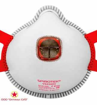 Респиратор фильтрующий Spirotek VS2300V FFP3 NR D с клапаном