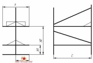 Нары двухъярусные двухсторонние сборно-разборные металлические. Тип-V, В-949.00.00.000-01