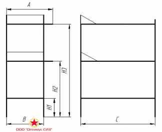 Нары трехъярусные односторонние сборно-разборные металлические. Тип-VI, В-950.00.00.000