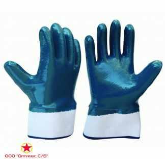 Перчатки хб с полным нитриловым покрытием, манжет крага фото