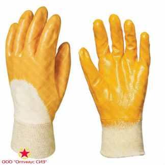 """Перчатки """"Лайт"""" хб с легким нитриловым покрытием, цв. желтый фото"""