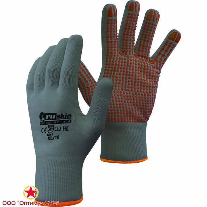 Фото Трикотажные перчатки с ПВХ точками  Ruskin® Industry 304