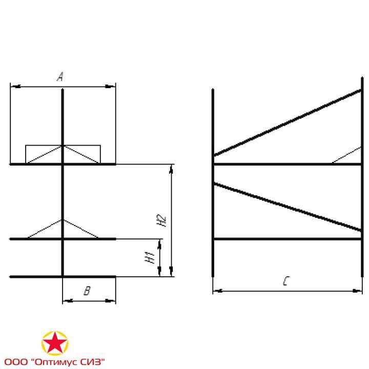 Фото Нары двухъярусные двухсторонние сборно-разборные металлические. Тип-V, В-949.00.00.000-01